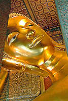 Arguably the most impressive Buddha for Western visitors to Bangkok is just south of Wat Phra Kaew at Wat Pho. Molded out of plaster and finished with a thin veneer of gold leaf, Wat Pho features the largest reclining Buddha in Asia. The massive 150-foot Buddha illustrates the achievement of nirvana.
