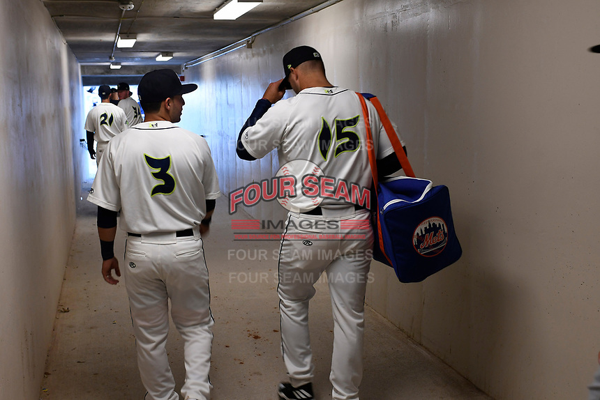 Left fielder Tim Tebow (15) of the Columbia Fireflies enters the field for the first time with teammate Michael Paez (3) in his first Class A game against the Augusta GreenJackets on Opening Day, Thursday, April 6, 2017, at Spirit Communications Park in Columbia, South Carolina. (Tom Priddy/Four Seam Images)