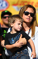 Aug 21, 2016; Brainerd, MN, USA; Noah Hood , son of former NHRA funny car driver Ashley Force Hood during the Lucas Oil Nationals at Brainerd International Raceway. Mandatory Credit: Mark J. Rebilas-USA TODAY Sports