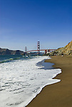 San Francisco: Baker Beach with Golden Gate Bridge in background.  Photo # 2-casanf83755.  Photo copyright Lee Foster