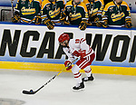 ST CHARLES, MO - MARCH 19:  Annie Pankowski (19) of the Wisconsin Badgers carries the puck during the Division I Women's Ice Hockey Championship held at The Family Arena on March 19, 2017 in St Charles, Missouri. Clarkson defeated Wisconsin 3-0 to win the national championship. (Photo by Mark Buckner/NCAA Photos via Getty Images)