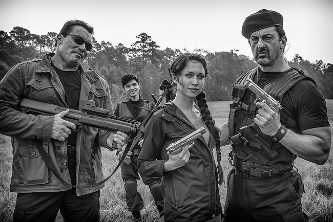 """On the set of """"The Starving Games"""" with The Expandables... Joseph Aviel as Arnold and Jade Roberts as Sly with actress Maiara Walsh as Kantmiss Evershot."""
