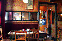 """BRUGES, BELGIUM - FEBRUARY 06 : A general view of a charming bistro called """"L'Estaminet"""" on February 06, 2009 in Bruges, Western Flanders, Belgium. 'Estaminet' was the usual name given to the pubs with music in the North of France and Wallonia. (Photo by Manuel Cohen)"""