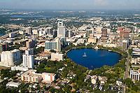 Aerial of Orlando skyline and Lake Eola, Florida, FL