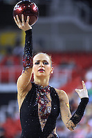 Marina Shpekht of Russia performs with ball at 2009 Budapest World Cup on March 7, 2009 at Budapest, Hungary.  Photo by Tom Theobald.