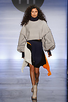 Model walks runway in an outfit by Cristina & Margarita Ng Ng, during the Future of Fashion 2017 runway show at the Fashion Institute of Technology on May 8, 2017.