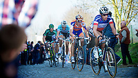 Dwars door Vlaanderen 2012.Sylvain Chavanel leading up the Oude Kwaremont