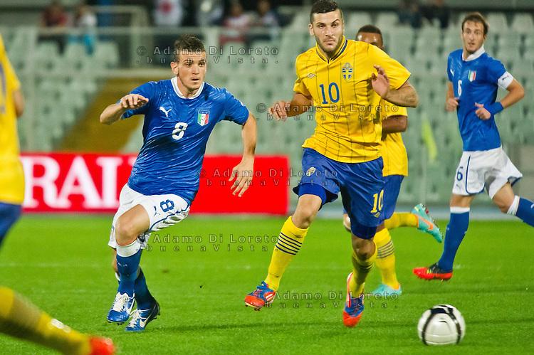 PESCARA (PE) 12/10/2012: QUALIFICAZIONE EUROPEI UNDER 21 ITALIA - SVEZIA. PARTITA VINTA DALL'ITALIA CON UN GOAL DI IMMOBILE. NELLA FOTO FLORENZI ITALIA  FOTO ADAMO DI LORETO