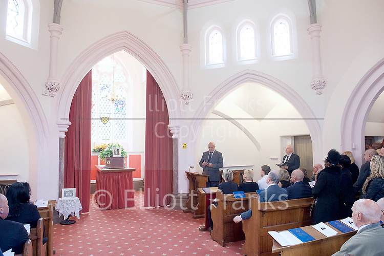 Leslie Rhodes funeral at North East Surrey Crematorium, Morden, Surrey, Great Britain 5th May 2017 <br /> <br /> Reading by Phil - friend and neighbour <br /> <br /> Leslie Rhodes was one of the victims of the Westminster terror attack on 22nd March 2017. Mr Rhodes was Winston Churchill's former window cleaner.<br /> <br /> Leslie Rhodes, from south London, suffered serious injuries when terrorist Khalid Masood mowed down pedestrians on Westminster Bridge. The 75-year-old was rushed to King&rsquo;s College Hospital but died there when his life support was withdrawn at about 8.25pm the following day. <br /> <br /> He had been attending an appointment at St Thomas&rsquo;s Hospital before Masood went on a rampage &ndash; killing four and injuring 50 before he was shot dead by police.<br /> <br /> Mr Rhodes, who friends revealed was the former window cleaner of Winston Churchill, suffered broken ribs and a punctured lung in the attack.<br /> <br /> <br /> Photograph by Elliott Franks <br /> Image licensed to Elliott Franks Photography Services