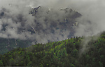 Mist and low cloud in the mountains. Imst district,Tyrol/Tirol. Austria.