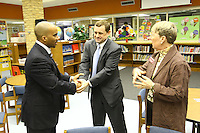 Congressman Tom Perriello met with Albemarle County school officials and discuss how H.R. 1, the American Recovery and Reinvestment Act which passed the House yesterday, will aid local school districts. Charlottesville and Albemarle County school districts are estimated to receive nearly $10.5 million over the next two years for Title I funding, school construction and modernization, and special education.Photo/Andrew Shurtleff..