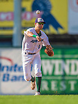 1 September 2013: Vermont Lake Monsters infielder Chad Pinder in action against the Connecticut Tigers at Centennial Field in Burlington, Vermont. The Lake Monsters fell to the Tigers 6-4 in 10 innings of NY Penn League action. Mandatory Credit: Ed Wolfstein Photo *** RAW Image File Available ****
