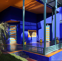 Entrance courtyard of villa, Majorelle Garden, Marrakech, Morocco. These botanical gardens were designed by French painter Jacques Majorelle, 1886-1962, in the 1920s and 1930s. He invented the shade of cobalt blue, known as Majorelle blue, which is used on the buildings and walls. Picture by Manuel Cohen