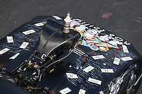 Jun 18, 2016; Bristol, TN, USA; Detailed view of the blower and injector scoop on the engine of the car of NHRA pro mod driver Mike Knowles during qualifying for the Thunder Valley Nationals at Bristol Dragway. Mandatory Credit: Mark J. Rebilas-USA TODAY Sports
