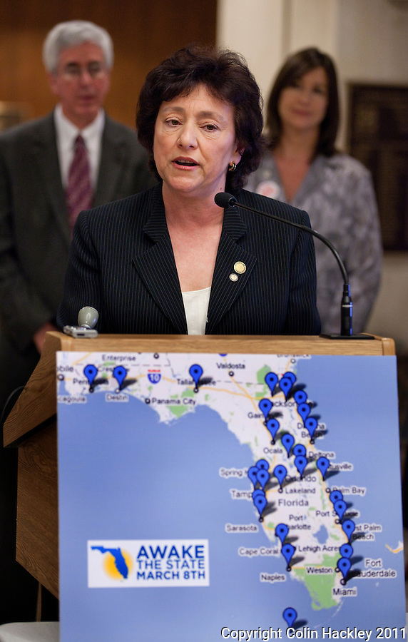 TALLAHASSEE, FLA. 3/8/11-OPENINGDAY030811 CH-Former Public Service Commissioner Nancy Argenziano speaks during an Awake the State news conference Tuesday at the Capitol in Tallahassee..COLIN HACKLEY PHOTO