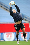 14 April 2007: United States goalkeeper Hope Solo, pregame. The United States Women's National Team defeated the Women's National Team of Mexico 5-0 at Gillette Stadium in Foxboro, Massachusetts in an international friendly game.