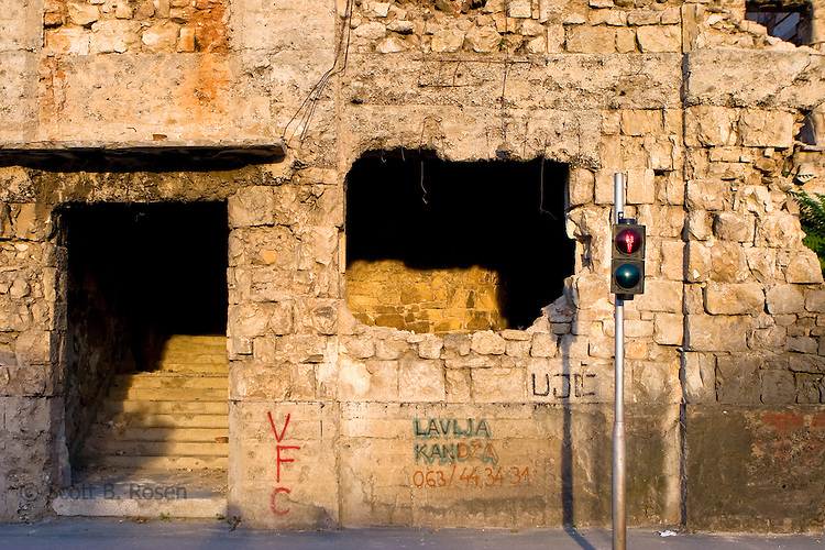 Bullet holes tore through the Bulevar, or front-line during the Bosnian War of 1993, Mostar, Hercegovina