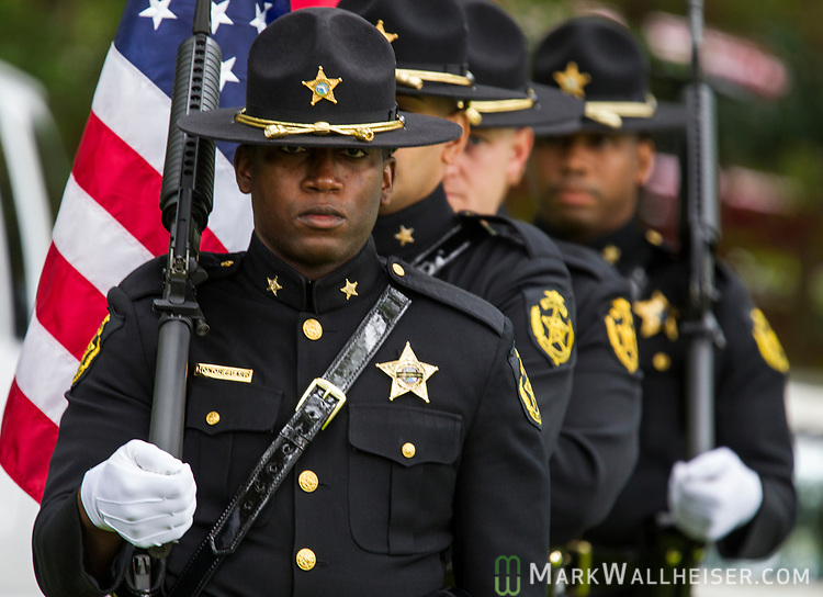 The Hillsborough County Sheriff's Honor Guard present the colors during the Florida Sheriffs Association 2017 Law Enforcement Memorial Ceremony at the Florida Sheriffs Association in Tallahassee, Florida.