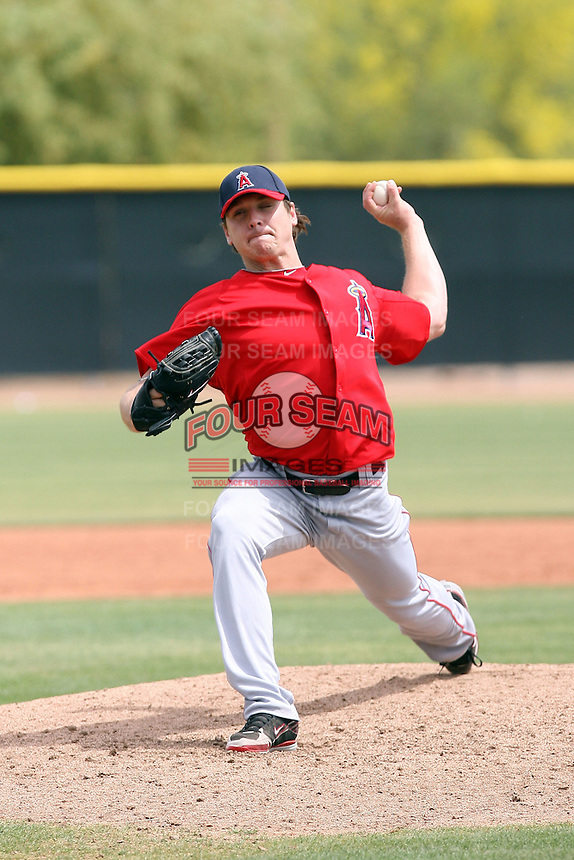 Scott Kazmir of the Los Angeles Angels pitches in an extended spring training game against the Milwaukee Brewers at the Angels minor league complex on April 23, 2011  in Tempe, Arizona. Kazmir is rehabbing an injury in preparation for a return to the major league team..Photo by:  Bill Mitchell/Four Seam Images.