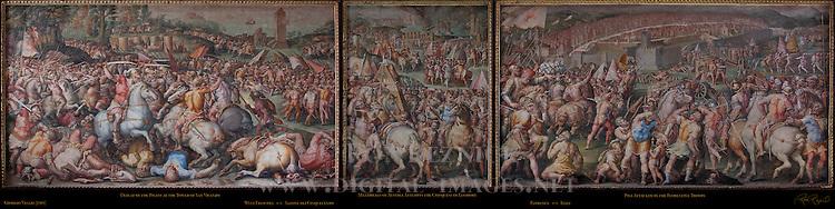 West Frescoes Vasari Salone dei Cinquecento (Hall of 500) Palazzo Vecchio Florence