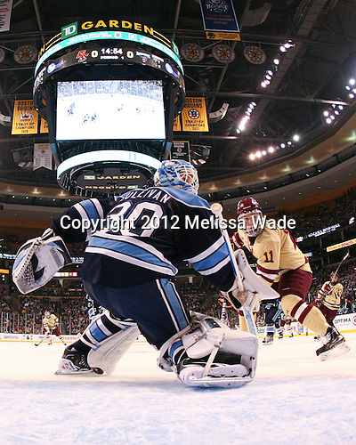 Dan Sullivan (Maine - 30), Pat Mullane (BC - 11) - The Boston College Eagles defeated the University of Maine Black Bears 4-1 to win the 2012 Hockey East championship on Saturday, March 17, 2012, at TD Garden in Boston, Massachusetts.
