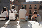 Young People on Cathedral Steps in Girona, Catalonia, Spain