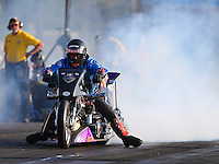 Jun 3, 2016; Epping , NH, USA; NHRA top fuel Harley motorcycle rider Jay Turner during qualifying for the New England Nationals at New England Dragway. Mandatory Credit: Mark J. Rebilas-USA TODAY Sports