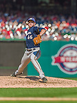 23 August 2015: Milwaukee Brewers pitcher Corey Knebel on the mound against the Washington Nationals at Nationals Park in Washington, DC. The Nationals defeated the Brewers 9-5 in the third game of their 3-game weekend series. Mandatory Credit: Ed Wolfstein Photo *** RAW (NEF) Image File Available ***