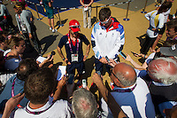 ENGLAND, Weymouth. 9th August 2012. Olympic Games. Men's 470 class. Medal Race. Luke Patience (GBR) Skipper (left) and Stuart Bithell (GBR) Crew, being interviewed in the media zone.