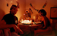 Farah Rahman helps me celebrate my 29th birthday at my apartment at 625 Leavenworth St. in San Francisco in 1994.