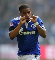 FUSSBALL   1. BUNDESLIGA   SAISON 2011/2012   31. SPIELTAG FC Schalke 04 - Borussia Dortmund                      14.04.2012 Jefferson Farfan (FC Schalke 04) bejubelt seinen Treffer zum 1:0