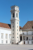 University clock tower, designed by Italian architect Antonio Canevari and built 1728-33, at the University of Coimbra in the former Palace of the Alcazaba, Coimbra, Portugal. The University of Coimbra was first founded in 1290 and moved to Coimbra in 1308 and to the royal palace in 1537. The buildings are listed as a historic monument and a UNESCO World Heritage Site. Picture by Manuel Cohen