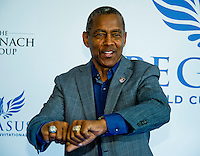 "HALLANDALE BEACH, FL - JAN 28: NFL Hall of Famer Tony Dorsett shows off his Super Bowl and Heisman Trophy rings on the ""red carpet"" during the Pegasus World Cup Invitational Day at Gulfstream Park Race Course on January 28, 2017 in Hallandale Beach, Florida. (Photo by Scott Serio/Eclipse Sportswire/Getty Images)"