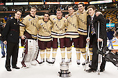 Tom Maguire (BC - Senior Manager), Parker Milner (BC - 35), Steven Whitney (BC - 21), Pat Mullane (BC - 11), Brooks Dyroff (BC - 14), Patrick Wey (BC - 6), Patch Alber (BC - 3) - The Boston College Eagles defeated the Northeastern University Huskies 6-3 on Monday, February 11, 2013, at TD Garden in Boston, Massachusetts.