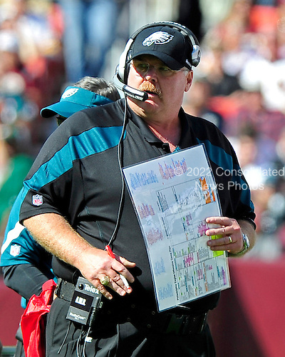 Philadelphia Eagles head coach Andy Reid watches the action in the first quarter against the Washington Redskins at FedEx Field in Landover, Maryland on Sunday, October 16, 2011.  The Eagles won the game 20 - 13..Credit: Ron Sachs / CNP
