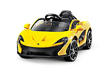 Little McLaren P1TM electric car for kids battery powered toy supercar isolated on white background with clipping path