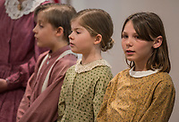 NWA Democrat-Gazette/ANTHONY REYES @NWATONYR<br /> Jaci Davis (from left), 9, Elizabeth Davis, 9, and Julia Stilwell, all members of the Shiloh Balladeers perform folk ballads Wednesday, March 15, 2017 at the Shiloh Museum of Ozark History in Springdale. The group performed songs like &quot;Skip to My Lou,&quot; &quot;Bangum and the Boar&quot; and &quot;The Dewy Dens of Yarrow&quot; which all link back to the Ozarks, though the song may have longer histories.
