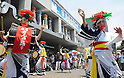 July 16th, 2011, Sendai, Japan - Sansa Odori's dancers from iwate prefecture perform at the Tohoku Rokkon Festival, July 16, 2011, in Sendai city, Miyagi prefecture, northeastern Japan, about 90km away from the tsunami-crippled Fukushima Daiichi Nuclear Power Plant. The six major festivals in the Tohoku region, comprising Sansa Odori in Iwate, Nebuta Matsuri in Aomori, Tanabata Matsuri in Sendai, Hanagasa Matsuri in Yamagata, Kanto Matsuri in Akita, and Waraji Matsuri in Fukushima, are performed together at Tohoku Rokkon Festival for the first time to overcome the many harmful rumors and atmosphere of excessive restraint, to recover the visiting population in order to revive the regional economy, and accomplish reconstruction after the March 11's earthquake and tsunami. (Photo by Tomoyuki Kaya/AFLO) [3694]