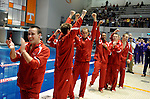 26 MAR 2011:  The Denison mens team celebrates winning the team national championship during the Division III Men's and Women's Swimming and Diving Championship held at Allan Jones Aquatic Center in Knoxville, TN.  David Weinhold/NCAA Photos