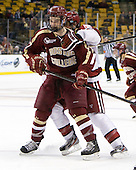 Destry Straight (BC - 17) - The Boston College Eagles defeated the Harvard University Crimson 4-1 in the opening round of the 2013 Beanpot tournament on Monday, February 4, 2013, at TD Garden in Boston, Massachusetts.