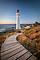 Castlepoint lighthouse and the boardwalk at sunrise, Coastal Wairarapa (Portrait)