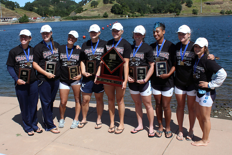 GOLD RIVER, CA - APRIL 30:  The University of San Diego Toreros during the WCC Women's Rowing Championships on April 30, 2010 in Gold River, California.