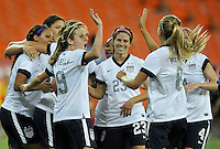 USWNT teammates celebrates Sydney Leroux score.  The USWNT defeated Mexico 7-0 during an international friendly, at RFK Stadium, Tuesday September 3 , 2013.