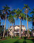 View of Ansbacher House framed by palm trees located on Parliament Square in Nassau Bahamas, New Providence Island.  Home of Bahamas Ministry of Tourism.