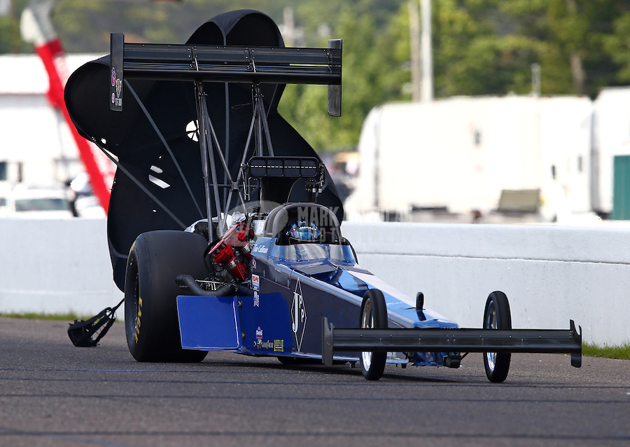 Aug. 17, 2013; Brainerd, MN, USA: NHRA top fuel dragster driver Tim Cullinan during qualifying for the Lucas Oil Nationals at Brainerd International Raceway. Mandatory Credit: Mark J. Rebilas-