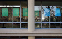 Architectural detail of the concrete, steel and glass facade of the Maison de L'Allemagne or Germany House, or Maison Heinrich Heine, designed by Johannes Krahn, 1908-1974, and opened in 1956, in the Cite Internationale Universitaire de Paris, in the 14th arrondissement of Paris, France. The CIUP or Cite U was founded in 1925 after the First World War by Andre Honnorat and Emile Deutsch de la Meurthe to create a place of cooperation and peace amongst students and researchers from around the world. It consists of 5,800 rooms in 40 residences, accepting another 12,000 student residents each year. Picture by Manuel Cohen. Further clearances may be requested.