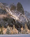 Clearing winter storm, Sentinel Rock, Yosemite Valley, Yosemite National Park,  California
