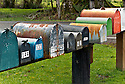 WA11257-00...WASHINGTON - Mailboxes in the Hoh River Valley on the west side of the Olympic Peninsula.