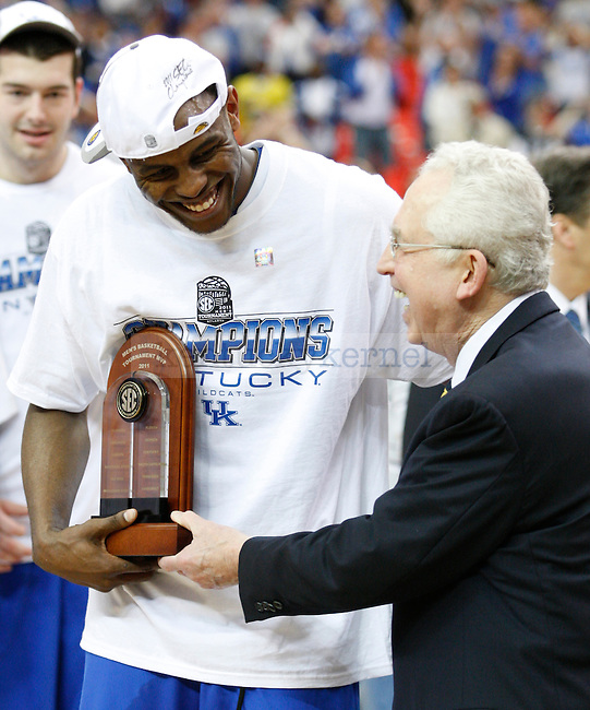 Darius Miller is named SEC Tournament Most Valuable Player and to the SEC All-Tournament team after the win over Florida in the SEC Tournament, played at the Georgia Dome, Sunday, March 13, 2011.   Photo by Latara Appleby | Staff