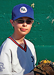 2 July 2011: Burlington American Little Leaguer Josh Wolfstein stands ready to take the field for the National Anthem at a game between the Vermont Lake Monsters and the Tri-City ValleyCats at Centennial Field in Burlington, Vermont. The Lake Monsters rallied from a 4-2 deficit to defeat the ValletCats 7-4 in NY Penn League action. Mandatory Credit: Ed Wolfstein Photo